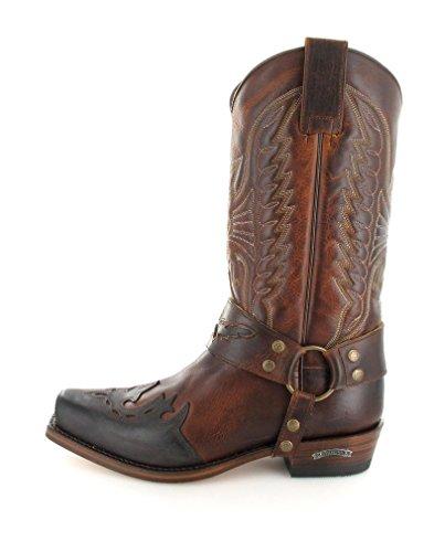 Sendra Laarzen 7862 Chocolade Marron Tang Leren Laarzen Voor Vrouwen En Mannen Biker Boots Bruin Chocolade Tang