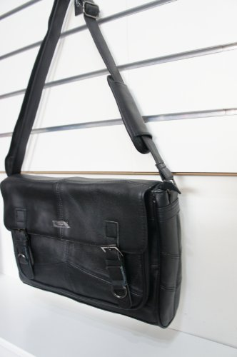 LORENZ in vera pelle, colore: nero, taglia L/3753-Borsa a tracolla Messenger