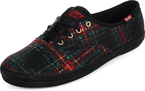 Keds Tie (Keds Women's Champion Distressed Plaid Plaid Black Ankle-High Canvas Fashion Sneaker - 6M)