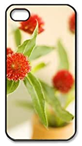 meilz aiaiiphone 4 case personalize Red flower PC Black for Apple iPhone 4/4Smeilz aiai