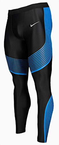 Nike Mens Power Speed Compression Running Tights Pants (2X-Large, Black/Blue)