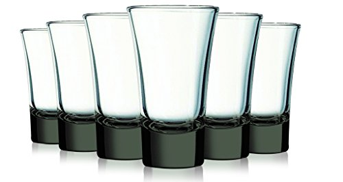 Smoke Grey Evase Cordial Glasses with Beautiful Colored Accent- 2 oz. set of 6. Additional Vibrant Colors Available