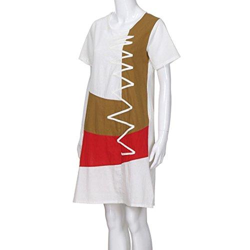 POLP Vestidos Largo ◉ω◉ Algodón y Lino Suelto Vestidos Mujer Verano Elegantes Tallas Grandes Vestidos,Fiesta Falda,Manga Cortas Vestido,Camisetas Vestido, Vestido Ropa de Trabajo Blanco