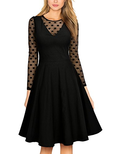Missmay Women's Vintage Elegant Long Sleeve Polka Dot Swing Dress (XX-Large, A-Black)