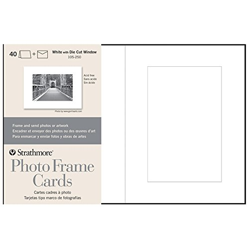 Envelopes Strathmore Drawing (Strathmore 105-250 Photo Frame Cards, White Cutout Window, 40 Cards & Envelopes)