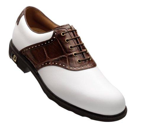 FootJoy Icon Saddle Golf Shoes White - Dark Brown 7.5 Medium 52108