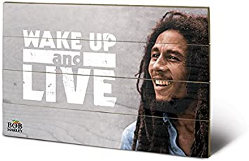 Pyramid International sw11159p Bob Marley (Wake Up & Live) Madera Pared de Arte, Madera, Multicolor, 40 x 2,5 x 59 cm