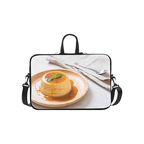 Homemade Caramel Custard Pudding Pattern Briefcase Laptop Bag Messenger Shoulder Work Bag Crossbody Handbag for Business Travelling