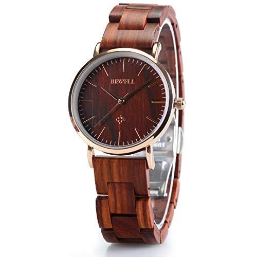 BEWELL Wooden Watches for Men/Women Slim Analog Quartz Minimalist Couple Wrist Watch W163A (Women-Red)