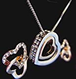 Floating Heart Necklace Earrings Set Two Tones Gold & Sterling Silver Free Gift Box