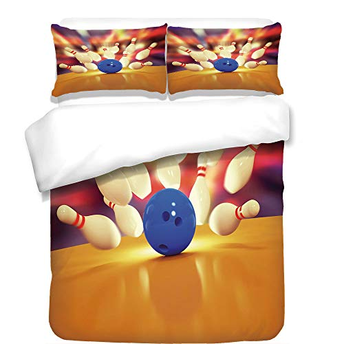3Pcs Duvet Cover Set,Bowling Party Decorations,Spread Skittles Blue Ball on Wooden Floor Moment of Crash Print Decorative,Multicolor,Best Bedding Gifts for Family/Friends