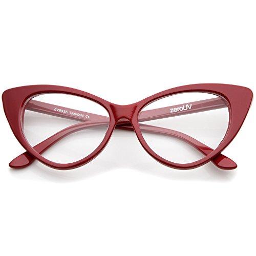zeroUV - Super Cat Eye Glasses Vintage Inspired Mod Fashion Clear Lens Eyewear - Glasses Clear Cat Red Eye