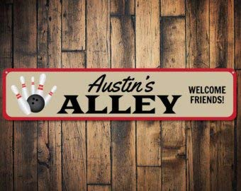 Bowling Alley Sign, Personalized Kid Name Room Sign, Custom Child Bedroom Bowler Decor, Welcome Friends Sign - Quality (Bowling Alley Signs)