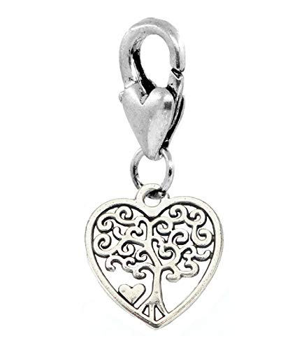 Tree of Life Heart Family Filigree Lobster Claw Clip Dangle Charm for Bracelets Jewelry Making Supply by Wholesale Charms