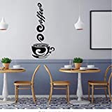 Xqi wangpu Creative Coffee Mug Cup Wall Stickers For Cafe Coffee Shop Door Stickers Living Room Kitchen Stickers Waterproof Removable Pvc 17X42Cm