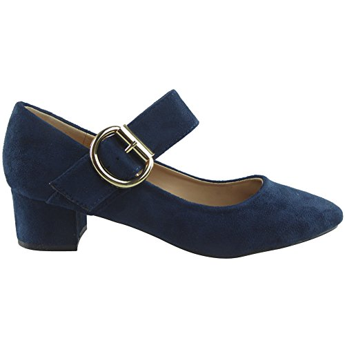 Womens Ladies Mary Janes Low Mid Heel Casual Office Work Pointed Toe Shoes Size 3-8 Navy Suede UDo0i