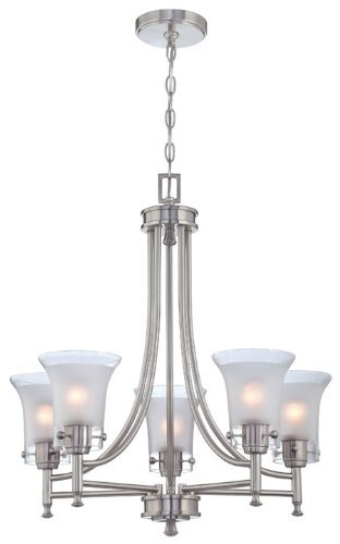 Lite Source LS-18735 Pendant with Frost Glass Shades, Steel Finish by Lite Source