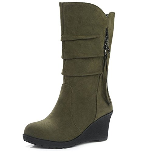 Coolcept Women Fashion Wedge Heel Pull On Mid Calf Boots Army Green