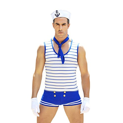 Honiee Mens 5PCS Navy Suit Costume Outfit -