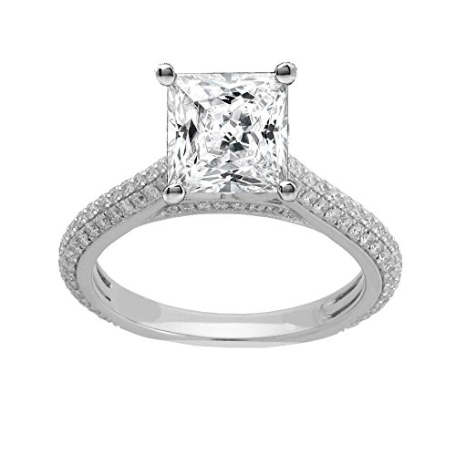 (14K White Gold 2/3ct TDW Diamond Engagement Ring With 1 1/2ct Cubic Zirconia Princess-Cut Center (G, SI1-VS2))