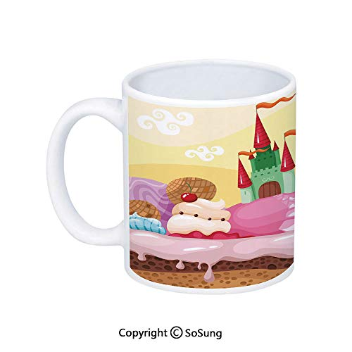 (Cartoon Decor Coffee Mug,Kids Sweet Castle Landscape with Donuts Muffins Ice Cream Nursery Image,Printed Ceramic Coffee Cup Water Tea Drinks Cup,Sand Brown Pink)