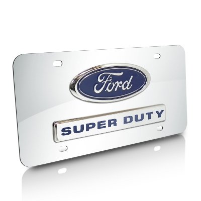 Ford Super Duty Logo and Nameplate Chrome Steel License Plate Au-Tomotive Gold INC