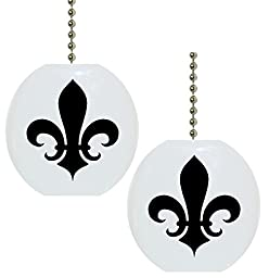 Set of 2 Black Fleur de Lis Solid CERAMIC Fan Pulls