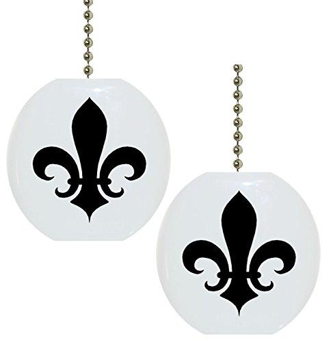 Set of 2 Black Fleur de Lis Solid Ceramic Fan Pulls ()