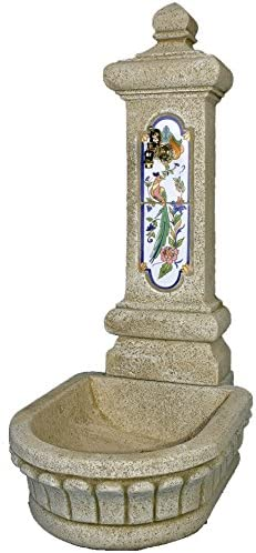 DEGARDEN Fuente de Pared Plaza de hormigón-Piedra y Azulejos Exterior jardín 51X80X121cm.: Amazon.es: Jardín