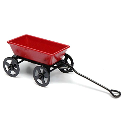 Dollhouse Metal Miniature Toy Red Small Pulling Cart Garden Furniture Accessorie