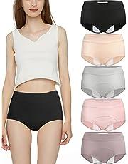 Dames menstruatieondergoed Menstruatieslips Lekvrij katoenen Snuggs-slipje Postpartum-onderbroek 5-pack