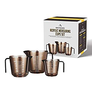 MAYWARD 3 Pcs Liquid Measuring Cups Set of BPA-free includes 1, 2 and 4 Cup with Ml and Oz