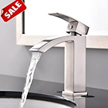 Shaco Commercial Single Handle Single Hole Stainless Steel Waterfall  Lavatory Bathroom Sink Faucet, Brushed Nickel With Extra Large Rectangular  Spout