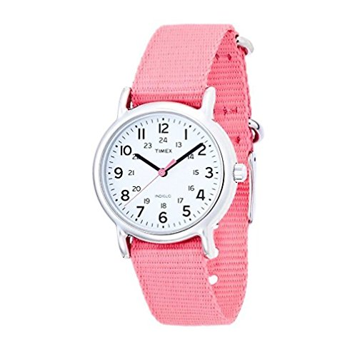 Timex Women's T2P368 Weekender Silver-Tone Watch with Pink Nylon Band