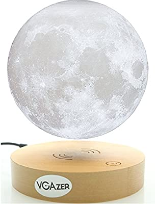 VGAzer Levitating Moon Lamp With Wood Base and 3D Printing Technology Floating and Spinning in mid-air Freely for Unique Gifts,Room Decor,Night Light,Office Desk Toys (White)