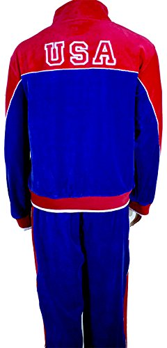 Velour Tracksuit Costume (USA Red, White & Blue Velour Tracksuit XX-Large)