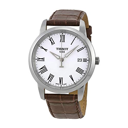 Dial Brown Dress (Tissot Men's T0334101601300 T-Classic Dream White Dial Brown Leather Strap Watch)