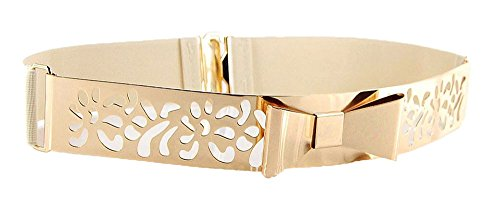 Women Fashion Gold Metal Keeper Metallic Big Mirror Bow Wide Obi Belts (Fretwork Beige) (Big Gold Belt)