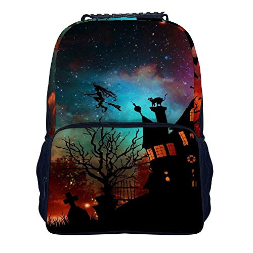 Halloween Theme Ghost House Witch Colorful Clouds Shoulders Backpack Leisure Two Mesh Side Pockets Book Bag For Adults And Children -