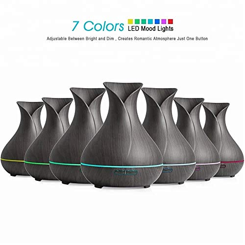 Oil Purifier Humidifier and Echo Options - 400ml Wood Electronic Smart Aroma Color