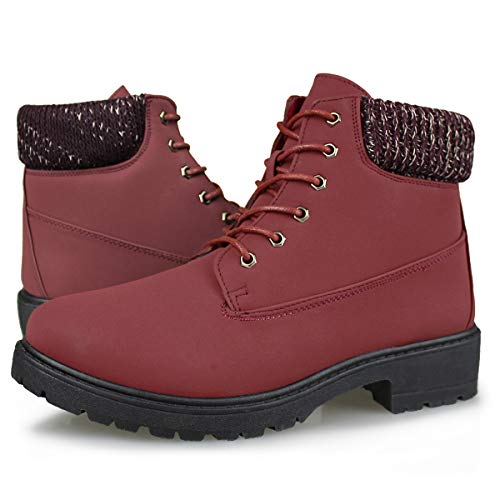 Hawkwell Women's Lace Up Outdoor Work Combat Boots Waterproof Ankle Bootie,Red PU,10 M US (Womens Size 10 Low Heel Red Boots)