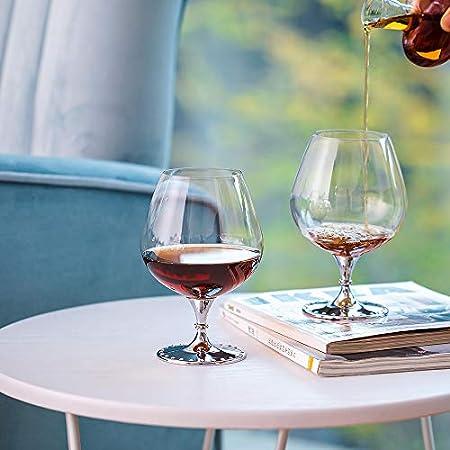 Sziqiqi Juego de 2 Copas de Coñac, Copas de Balón para Brandy Coñac Whisky, 21oz, Plata