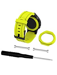 Watch Band, ABC Soft Silicone Replacement Wrist Watch (Band + Case )For Garmin Forerunner 225 GPS Watch (Yellow)