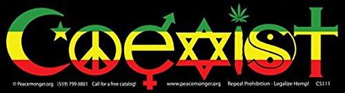 Rasta Colors Coexist - Bumper Sticker / Decal (10.5