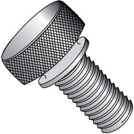 #10-32 x 3/8'' Knurled Thumb Screw w/Washer Face - FT - Aluminum - Pkg of 100 (1106TKWAL)