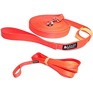 Leashboss Long Trainer – 1 Inch Nylon Long Dog Training Leash with Storage Strap