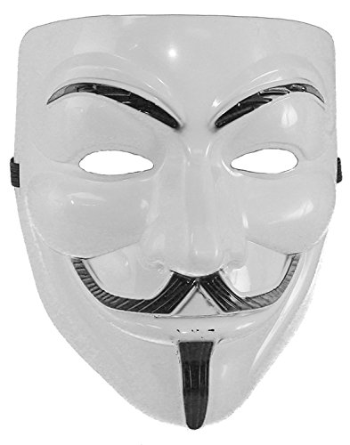 [Hagora, Men's Chilling V For Vendetta Costume White Tone Black Details Mask] (V For Vendetta Costume Pattern)