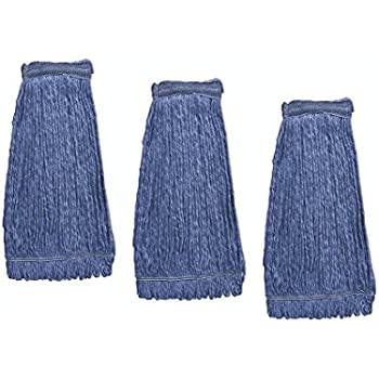 KLEEN HANDLER Heavy Duty Commercial Mop Head Replacement   Wet Industrial Blue Cotton Looped End String Cleaning Mop Head Refill (Pack of 3)