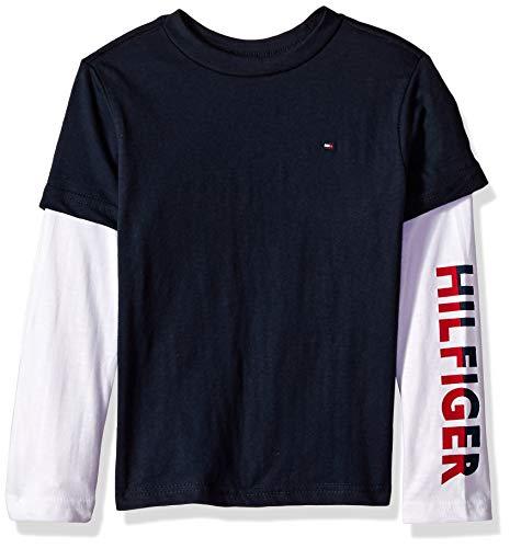 Tommy Hilfiger Boys' Dustin-Bex Jersey Long Sleeve Tee, Hit Swim Navy, M 12/14