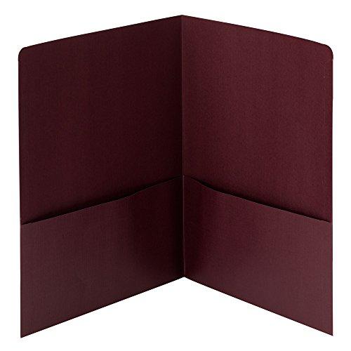 Smead Linen Two-Pocket Folders, Letter Size, Maroon, 25 per Box (87947)